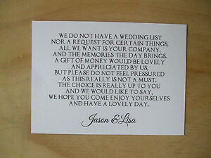 Image Is Loading Wedding Money Request Poem Cards Honeymoon Wish List