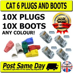 10-Cat-6-RJ45-Plugs-amp-Boots-for-Network-Patch-Cables-Crimp-Connectors-LAN