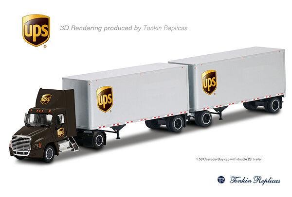 venta mundialmente famosa en línea Tonkin Freightliner Cascadia Cascadia Cascadia cabina de día UPS W Doble 28' Cachorros 1 53  Los mejores precios y los estilos más frescos.