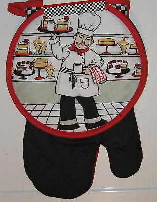 Potholder Oven Mitt set Pastry Fat Chef Bistro Black Red