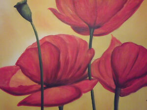 abstract red poppies flowers large oil painting canvas modern contemporary art - london, London, United Kingdom - abstract red poppies flowers large oil painting canvas modern contemporary art - london, London, United Kingdom