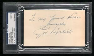 Joe-Lapchick-d-1970-signed-index-card-3x5-PSA-9-autographed-auto-Basketball-HOF
