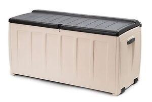 keter auflagenbox mit sitzfunktion gartentruhe kissenbox sitzbank 125x55x61cm ebay. Black Bedroom Furniture Sets. Home Design Ideas
