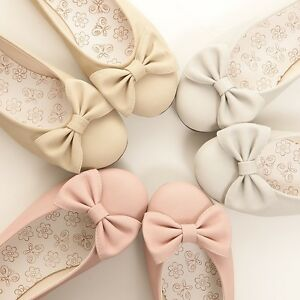 BN-Womens-Wedding-Ballet-FLATS-BOWED-BALLERINAS-Casual-Work-Shoes-Soft-and-Comfy
