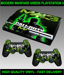 Play-station-3-Console-Sticker-Skin-COD-MW3-Style-Green-2-X-Controller-Skins