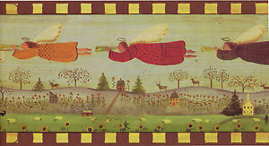 Flying Angels Primitive Folk Art Country Scenic Brown Trim