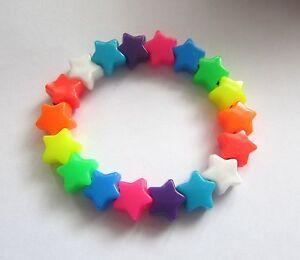Image Is Loading Kitsch Rainbow Plastic Star Bead Elastic Bracelet Retro