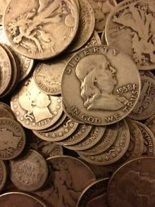 Old-US-Silver-Coin-Lot-1-2-Ounce-oz-Silver-Collection-Win-5-Lot-Bonus-Gold-Bar