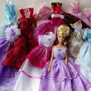 Lot-5-Pcs-Fashion-Handmade-Clothes-Dresses-Grows-Outfit-For-Barbie-Doll-5X-5-X
