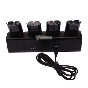 Light-Charger-Dock-4-x-Battery-for-Wii-Remote-Black