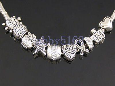 Wholesale 100 Tibetan Silver Bulk Lots Mix Beads Fit Charm Bracelet ZN012
