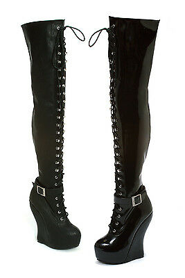 Black Fetish Wedge Platform Burlesque Heelless Thigh High Hi Boots size 8 9 10