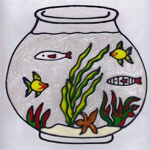 faux stained glass fish bowl window cling