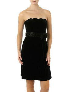 JS-Collections-RRP-150-Black-Scallop-Hem-Velvet-Designer-Cocktail-Party-Dress
