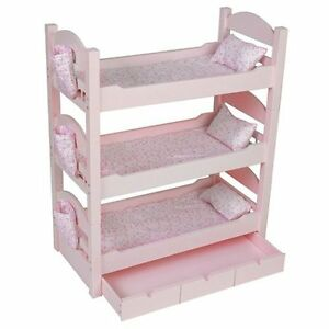 triple bunk beds trundle sleeps 4 18 dolls our generation american girl mckenna ebay. Black Bedroom Furniture Sets. Home Design Ideas