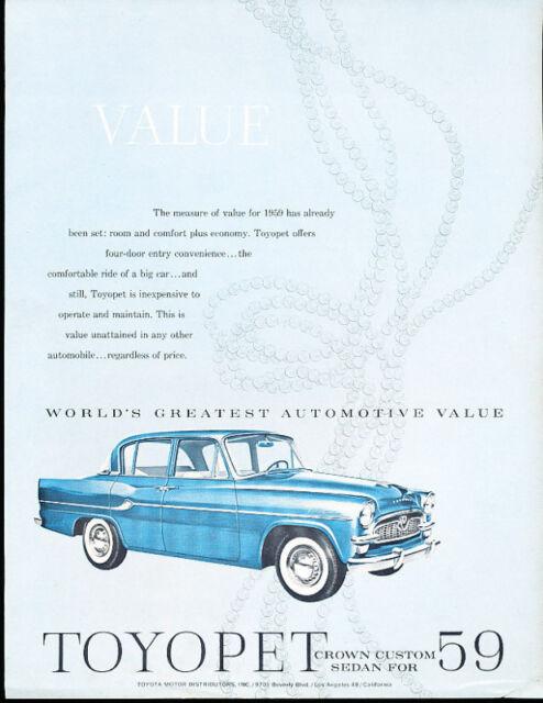 1959 Toyota Toyopet Crown Sales Brochure USA Sedan