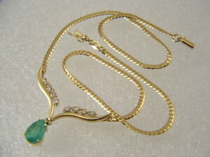 18-KT-SOLID-YELLOW-GOLD-PEAR-SHAPE-EMERALD-DIAMOND-ACCENT-LINK-CHAIN-NECKLACE