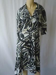 Ladies-PER-UNA-Black-White-Print-100-LINEN-Belted-Shirt-Dress-UK-12-EU-40