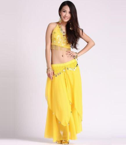 Belly Dance Costume 5 Flower Top, Gold Coins Skirt 11 Colors