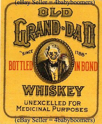 "Vintage OLD GRAND DAD 2.25""x 1.75"" Prohibition Prescription Whiskey Bottle Label"