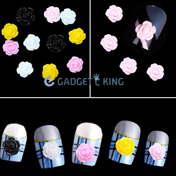 100 X Acrylic Flower Rhinestones For 3D Nail Art Tips Decorations Fimo Rose
