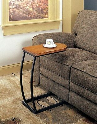 Distressed Oak Finish Snack C Shape Couch Table with Black Metal Base