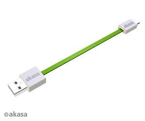Akasa-AK-CBUB16-15GN-PROSLIM-Super-slim-Type-A-to-Micro-B-cable-Green-15cm