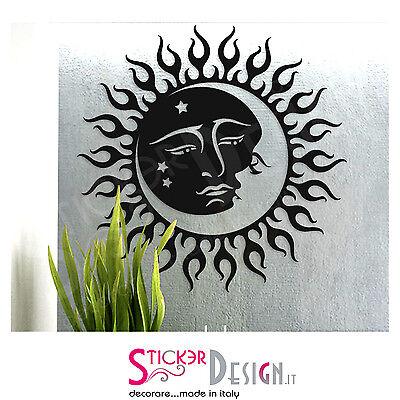 Wall Stickers Adesivo Murale Raggi di Sole con Luna Design Moderno Stickers