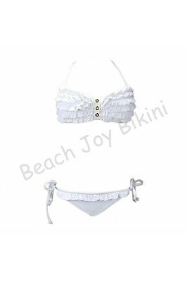 White  Button detailed ruffle bandeau top ties at the neck /back. String
