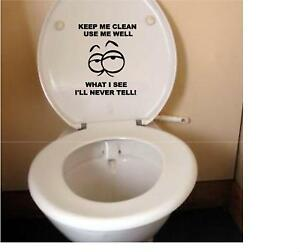 Funny Toilet Seat Vinyl Decal Sticker 3 Keep Me Clean