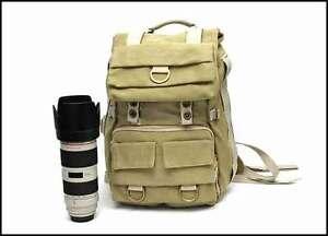 A-beige-Canvas-DSLR-Camera-Rucksack-Laptop-Outdoor-Backpack-Bag-Canon-Nikon-Sony