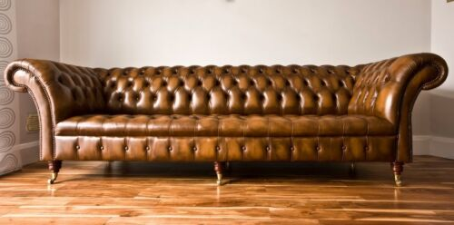 MODERN HANDMADE ANTIQUE GOLD LEATHER 4 SEATER CHESTERFIELD SOFA, COUCH, SUITE