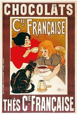 1900's French Chocolats Kitten Cat Food & Wine Advertisement Art Poster Print