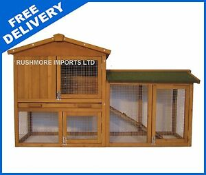 RABBIT-GUINEA-PIG-HUTCH-HOUSE-CAGE-PEN-BUILT-IN-RUN
