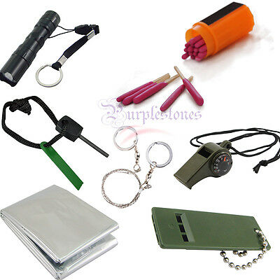 Outdoor Emergency Survival Kit  Whistle Blanket Fire Wire Saw Matches Flashlight