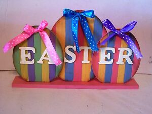 STRIPED SPRING WOOD EASTER EGGS RIBBON BOWS TABLE DESK DECORATION