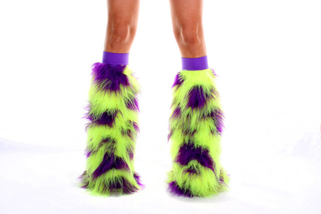 COW UV YELLOW & PURPLE RAVE FUZZY FLUFFIES FLUFFY LEGWARMERS  CLUBWEAR