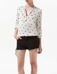 New-Womens-V-Neck-Roll-Up-Sleeve-Pockets-Dog-Print-Shirt-Blouse-Tops-WF-3389