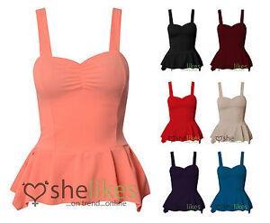 Womens-Ladies-Sleeveless-Padded-Gather-Frill-Shift-Peplum-Bodycon-Vest-Top-8-14