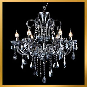 image is loading 6 lights smoke color grey black crystal chandelier black crystal chandelier lighting