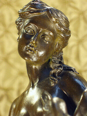 Real Bronze Metal Statue Stone Base Roman Grecian Nude Woman with a Goose Swan