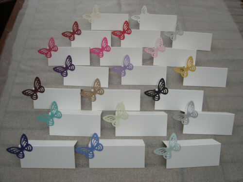 50 SHIMMER PEARLESCENT BUTTERFLY WEDDING PLACE NAME PLACECARD CARDS MANY COLOURS