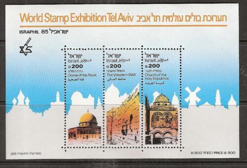 ISRAEL # 907-909 MNH WORLD STAMP EXHIBITION, Israphil 1985. Souvenir Sheet