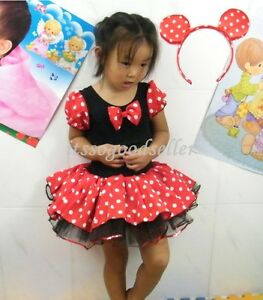 Girl-Minnie-Mouse-Pary-Fancy-Costume-Ballet-Tutu-Dress-Ear-2-10Y-Kids-Gift