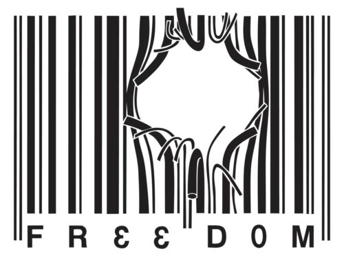 BARCODE FREEDOM  Patriotic Big or Small Wall Car Decal Sticker