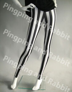 Black-and-White-Vertical-Stripes-Mime-Spandex-Leggings-Pants-Striped-Beetlejuice