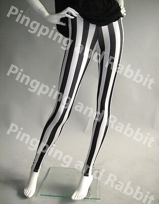 Black and White Vertical Stripes Mime Spandex Leggings Pants Striped Beetlejuice