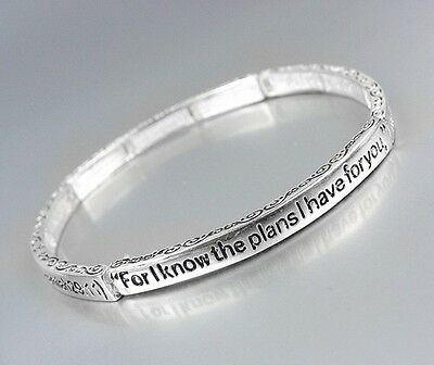 Inspirational Thin Scripture JEREMIAH 29:11 Silver Stretch Stackable Bracelet