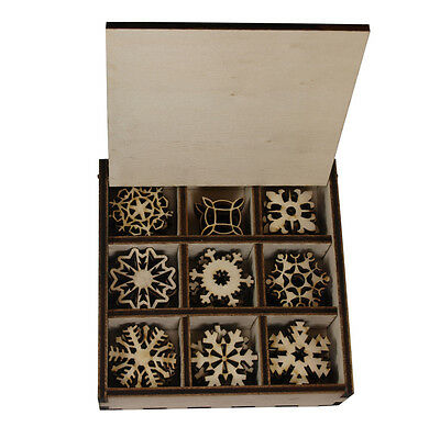 45 pieces Christmas snowflake ornament in Special Wooden Box