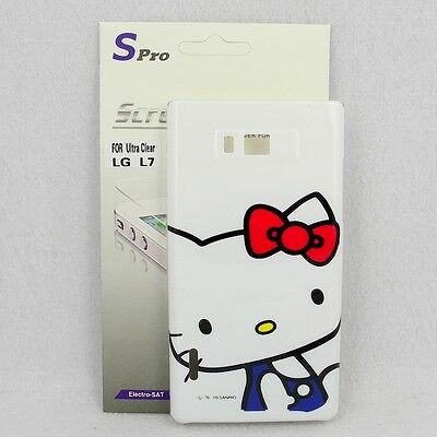 For LG Optimus L7 P700/P705 Hello Kitty Case #C + Spro Screen Protector